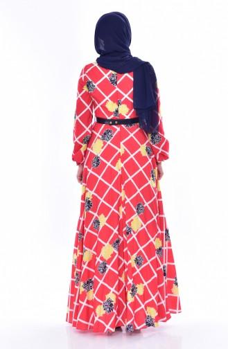 Gemustertes Kleid mit Gürtel 2237-04 Rot 2237-04