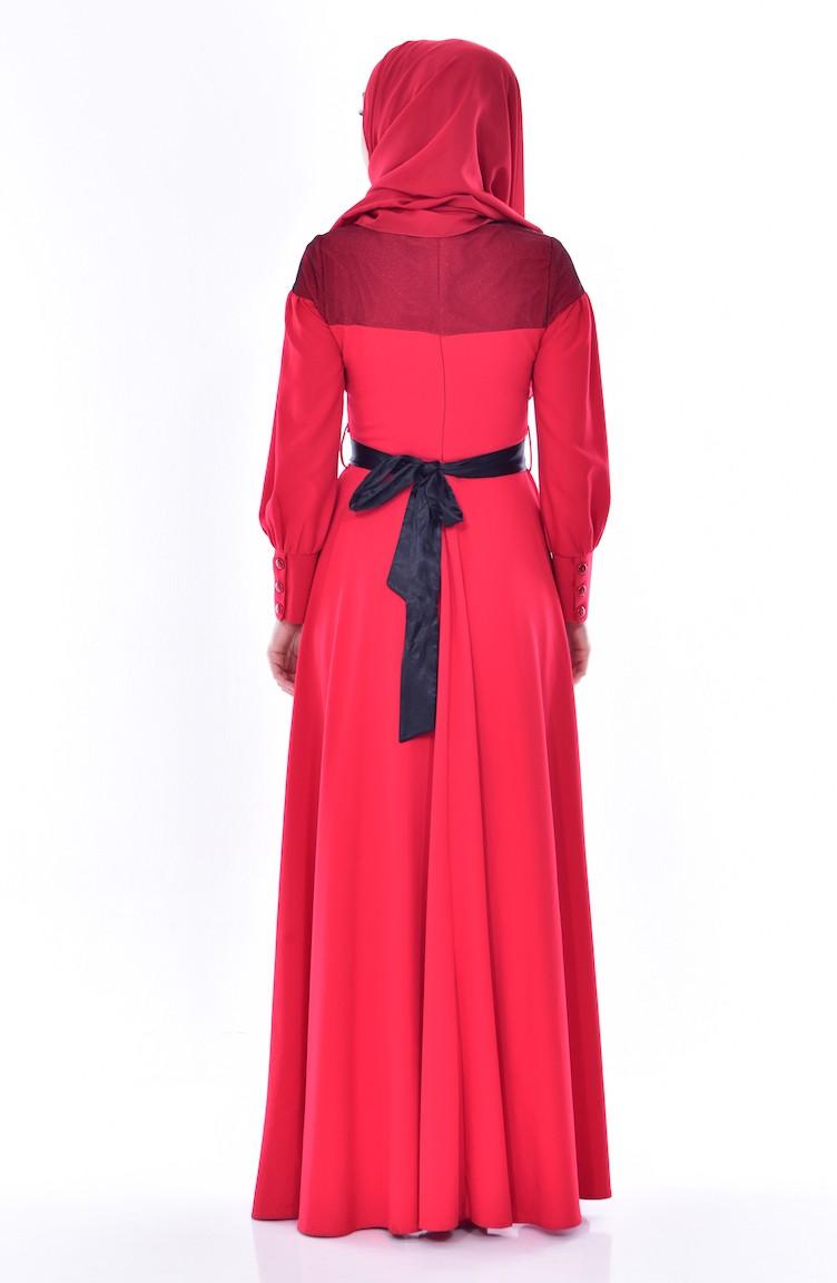 6abbb7976645e فستان لون أحمر 2683-01
