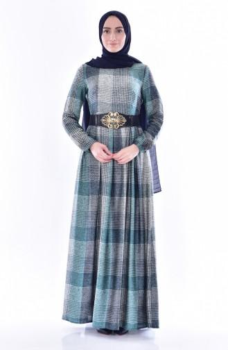 فستان بتصميم طيات حزام للخصر 1550-04 لون كحلي 1550-04