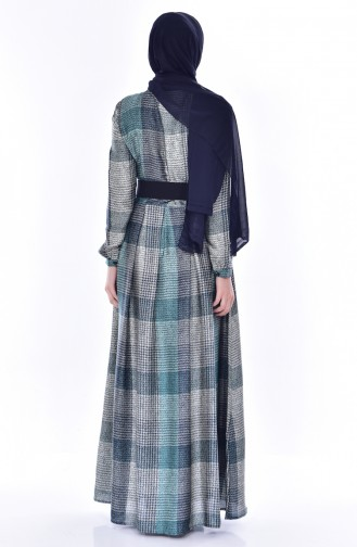 Gefaltetes Kleid mit Gürtel 1550-04 Dunkelblau 1550-04