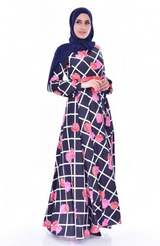 Gemustertes Kleid mit Gürtel 2237-01 Dunkelblau 2237-01
