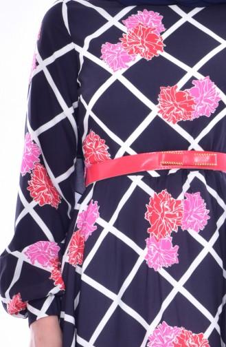 فستان بتصميم طيات حزام للخصر 2237-01 لون كحلي 2237-01