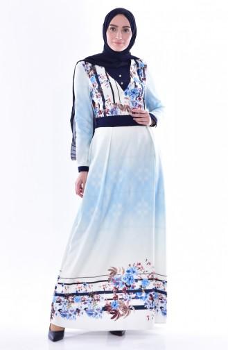 فستان بتصميم مُطبع 2902-01 لون كحلي 2902-01