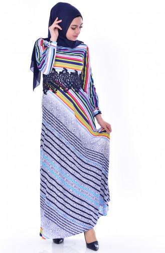 Çizgili Dantelli Elbise 2309-01 Mavi 2309-01