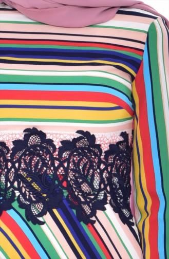 Striped Lace Dress 2309-03 Coral 2309-03