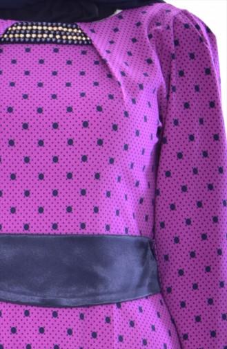 Robe a Motifs et Ceinture 2211-01 Pourpre 2211-01