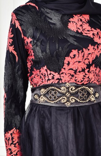 Abendkleid mit Spitzen 6369-01 Schwarz Koralle 6369-01