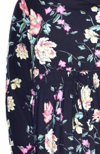 Lange Tunika mit Blumen Muster 3818-03 Schwarz Pink 3818-03