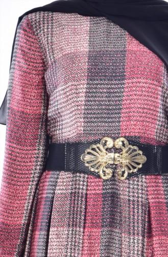 Gefaltetes Kleid mit Gürtel 1550-01 Weinrot 1550-01