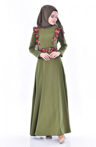فستان بحزام خصر وتفاصيل من الدانتيل 3376-02 لون أخضر كاكي 3376-02
