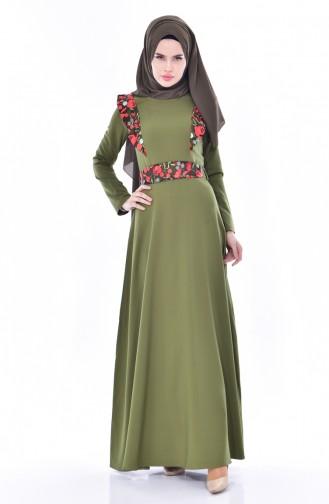 Kleid mit Spitzen 3376-02 Khaki 3376-02