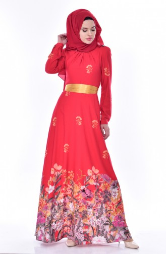 Desenli Kuşaklı Elbise 9889-01 Kırmızı
