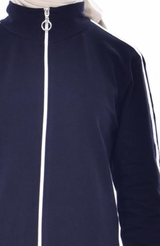 بدلة رياضية بتصميم سحاب 18085-02 لون كحلي 18085-02