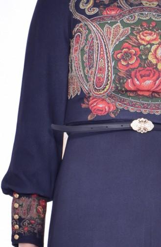 Robe a Motifs et Ceinture 2601-01 Bleu Marine 2601-01