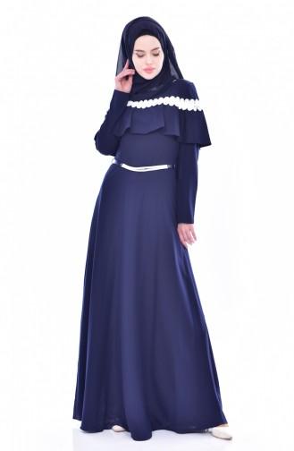 Allerli Kemerli Elbise 2721-04 Lacivert 2721-04