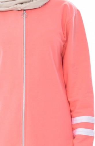 بدلة رياضية بتصميم سحاب 18050-24 لون برتقالي مائل للحمر 18050-24