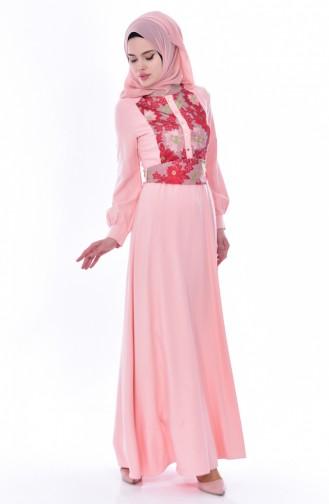 Dantelli Kuşaklı Elbise 2710-01 Pudra 2710-01