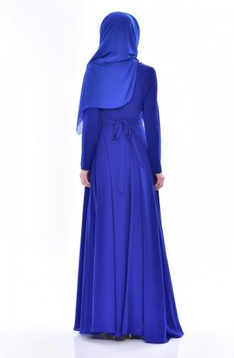 Robe Bordée a Ceinture 2627-01 Bleu Roi 2627-01