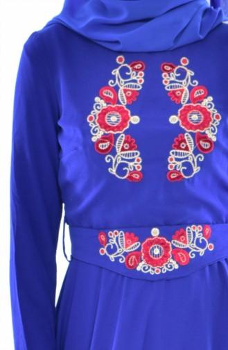 Nakışlı Kuşaklı Elbise 2627-01 Saks