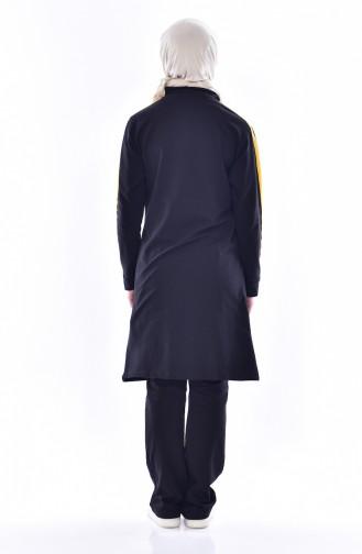 Fermuarlı Eşofman Takım 18085-03 Siyah Hardal