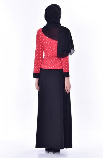 Gepunktes Kleid 3000-02 Rot Schwarz 3000-02