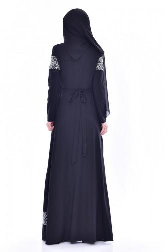 Perlen Kleid mit Gürtel 2526-01 Schwarz 2526-01