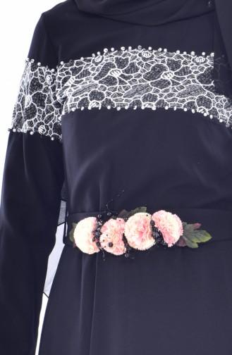 Robe Perlées a Ceinture 2526-01 Noir 2526-01