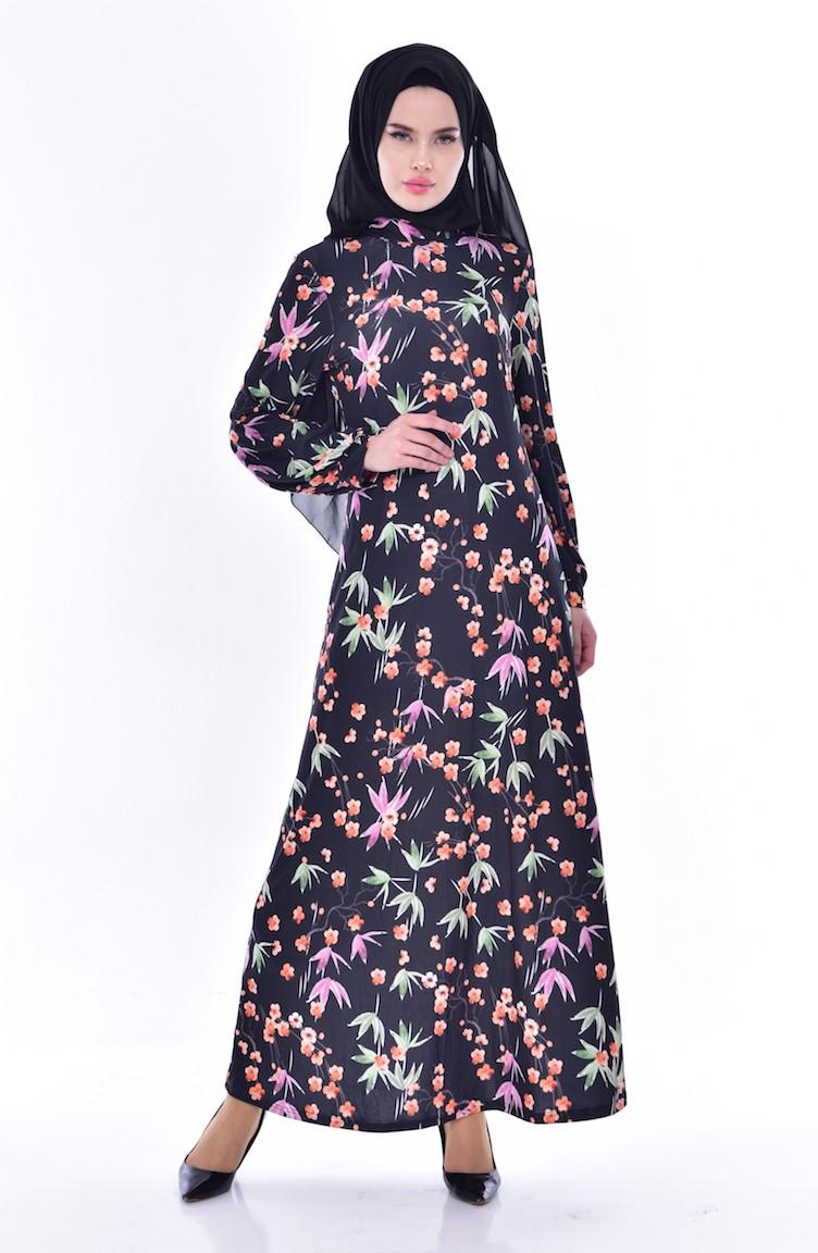 b23e40f81ac9a Çiçekli Elbise 9025A-01 Siyah 9025A-01