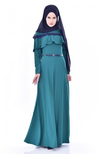 Hijab Kleid mit Gürtel 2721-02 Smaragdgrün 2721-02