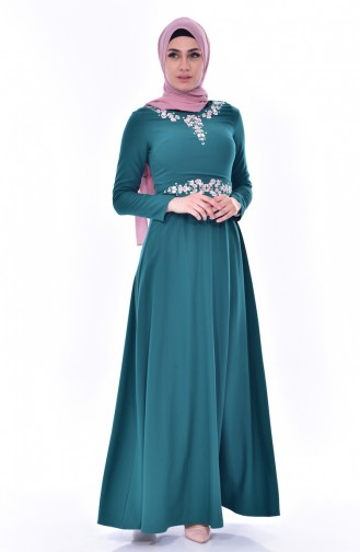 Kleid mit Stickerei 2770-01 Smaragdgrün 2770-01