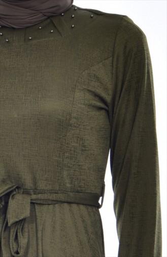 Kleid mit Perlen 1862A-02 Khaki 1862A-02