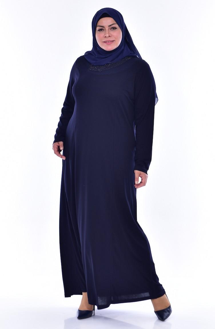 f3edd966b2203 Büyük Beden Taş Baskılı Elbise 4492-02 Lacivert