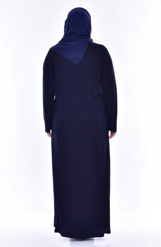 Robe İmprimée de Pierre Grande Taille 4492-02 Bleu Marine 4492-02