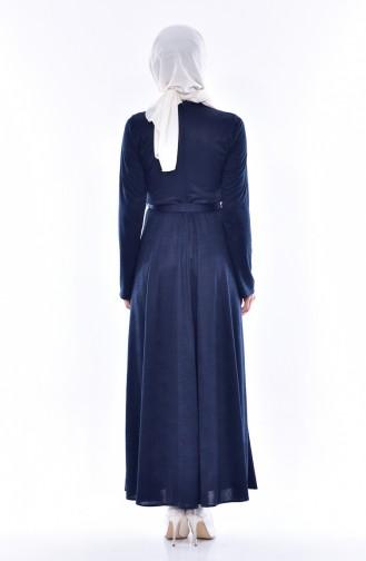 فستان بحزام خصر وتفاصيل من اللؤلؤ 1862A-05 لون كحلي 1862A-05
