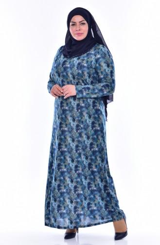 Robe a Motifs Grande Taille 4438E-03 Bleu Marine Turquoise 4438E-03