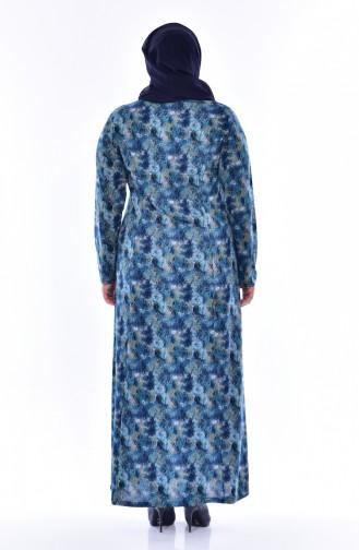 Büyük Beden Desenli Elbise 4438E-03 Lacivert Turkuaz 4438E-03