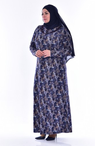 Übergröße Gemustertes Kleid 4438E-04 Dunkelblau Nerz 4438E-04