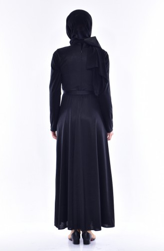Pearl Belted Dress 1862A-01 Black 1862A-01