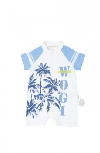 Baby Palm Patterned Overalls WG3021-01 Blue 3021-01