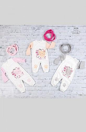 فرول أطفال مُطبع بتصميم من قطعتين WG3038-01 لون زهري 3038-01