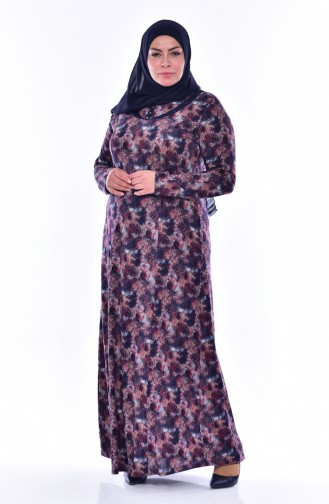 Übergröße Gemustertes Kleid 4438E-02 Dunkelblau Weinrot 4438E-02