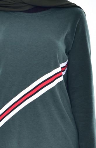 Şeritli Basic Tunik 2045-04 Çimen Yeşili