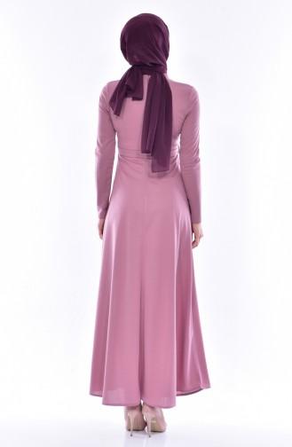فستان زهري باهت 0552-07