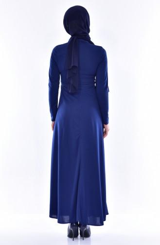 Besticketes Kleid mit Gürtel 0552-06 Dunkelblau 0552-06