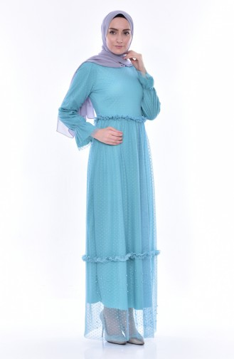 Pearls Tulle Dress 8185-05 Mint Green 8185-05