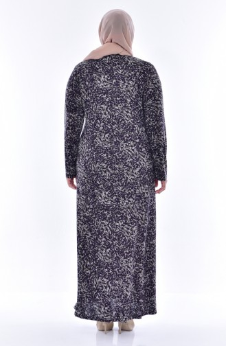 Übergröße Gemustertes Kleid 4438C-01 Lila 4438C-01