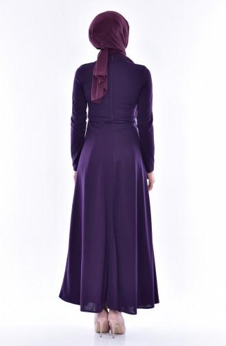 Besticketes Kleid mit Gürtel 0552-05 Lila 0552-05