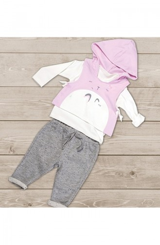 Ensemble Fille a Capuche 3 Pieces WG5100-01 Ekru 5100-01