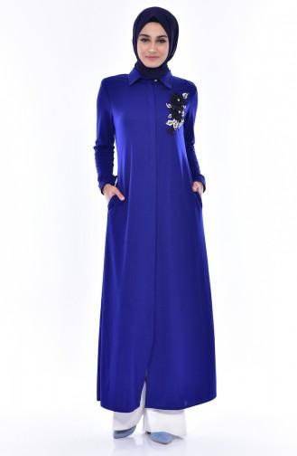 Abaya Perlées Bordée 0153-07 Bleu Roi 0153 -07