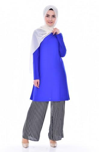 Tunik Pantolon İkili Takım 3881-07 Saks Mavisi